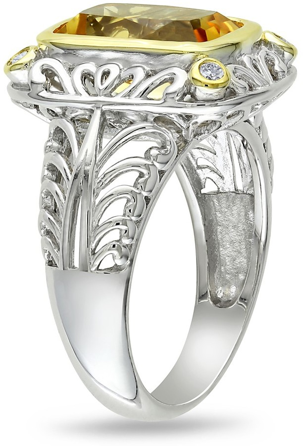 Ice.com 1/10 CT Diamond TW And 3 1/2 CT TGW Citrine Fashion Ring Silver GH I3 Yellow Rhodium Plated