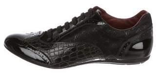 Louis Vuitton Alligator-Trimmed Monogram Oxfords