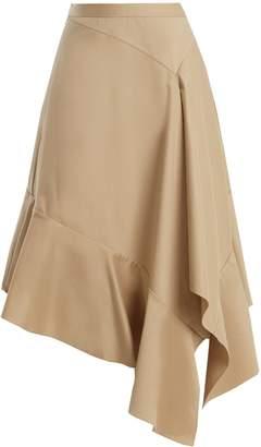Palmer Harding PALMER/HARDING Asymmetric fluted-hem cotton-twill midi skirt