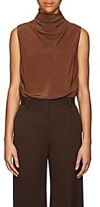 The Row Women's Ray Silk Cowlneck Top-Brown