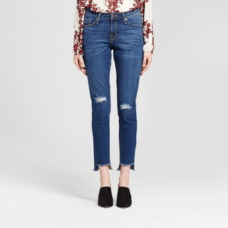 Mossimo Women's Jeans Mid Rise Skinny High Low Hem, Knee Slits - Mossimo Medium Wash $29.99 thestylecure.com