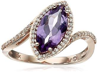 Marquis 10k Pink Gold Amethyst with Diamond Accent Ring (1/10cttw