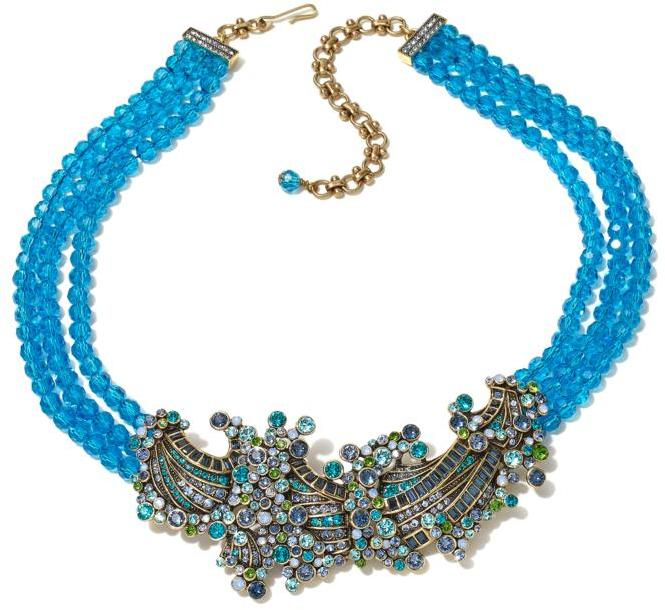 "Heidi Daus ""Ripple Effect"" Beaded 3-Strand Crystal Drop Necklace"