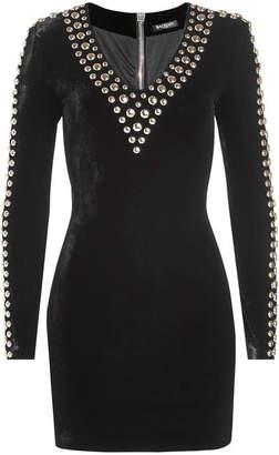 Balmain Embellished Velvet Dress with Silk