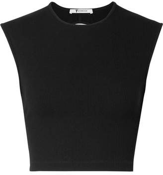 Alexander Wang Cropped Cutout Ribbed-knit Top - Black