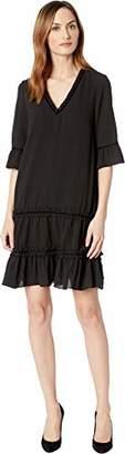 Adrianna Papell Women's 3/4 Sleeve Pebble Stretch Chiffon Trapeze Dress