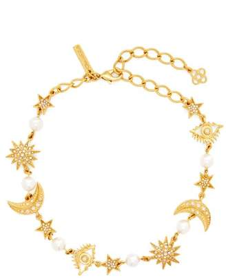 Oscar de la Renta Crystal Embellished Charm Necklace - Womens - Gold