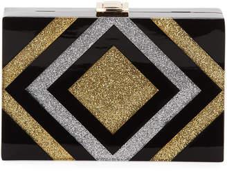 Milly Metallic Striped Box Clutch Bag