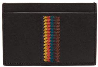 Paul Smith Embroidered Stripe Leather Cardholder - Mens - Black