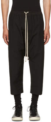Rick Owens Black Wool Cropped Drawstring Trousers
