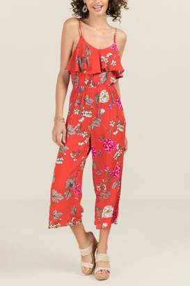 Dulcie Floral Ruffle Top Jumpsuit - Red