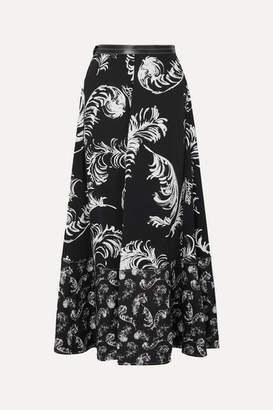 Loewe Leather-trimmed Printed Satin And Linen Maxi Skirt - Black