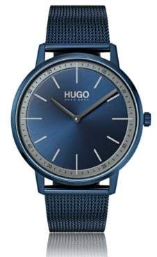 Unisex watch with blue mesh bracelet and dial