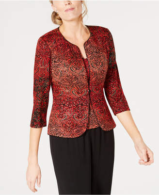 Alex Evenings Petite Metallic-Print Jacket & Top Set