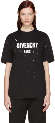 Givenchy Black Destroyed Logo T-Shirt $740 thestylecure.com