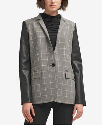 DKNY Faux-Leather-Sleeve Plaid Blazer, Created for Macy's