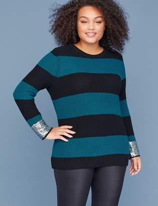 Lane Bryant Striped Sequin-Cuff Sweater