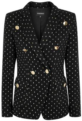 Emporio Armani Black Embroidered Double-breasted Jacket