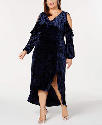 NY Collection Crushed-Velvet Cold-Shoulder Dress, Plus Size & Petite Plus Size