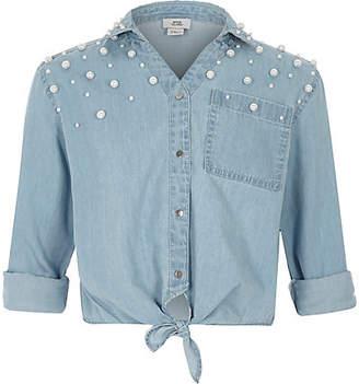 River Island Girls Blue pearl embellished denim tie shirt