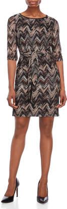 Studio One Petite Zigzag Tie-Waist Dress