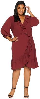 Adrianna Papell Plus Size Pebble Chiffon Faux Wrap Dress Women's Dress