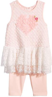 Marmellata 2-Pc. Lace Heart Top & Capri Leggings Set, Baby Girls