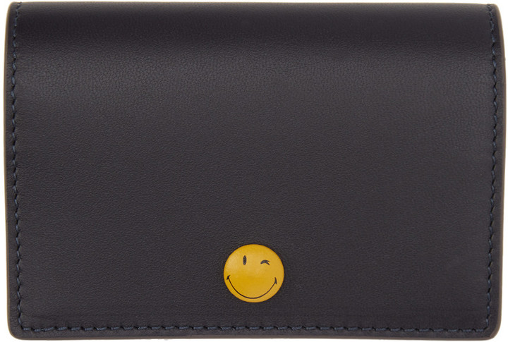 Anya Hindmarch Anya Hindmarch Navy Wink Popper Folded Card Holder