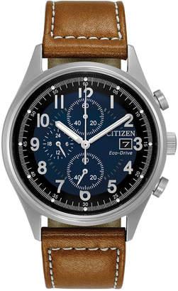 Citizen Men Eco-Drive Chronograph Brown Leather Strap Watch 42mm CA0621-05L