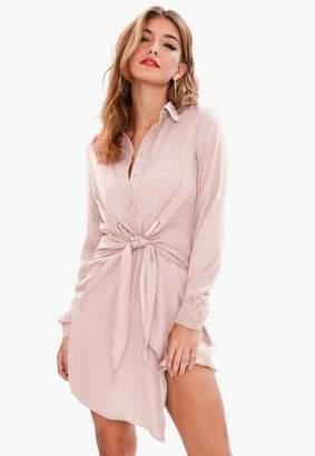 Missguided Pink Tie Waist Shirt Dress