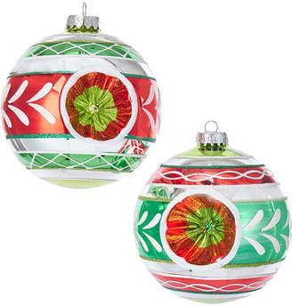 Kurt Adler Set Of 2 Reflector Ornaments