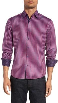 Men's Stone Rose Trim Fit Bird's-Eye Stripe Sport Shirt $145 thestylecure.com