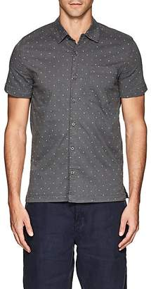 Blank NYC Blanknyc Men's Polka Dot Cotton Shirt - Navy Size Xs