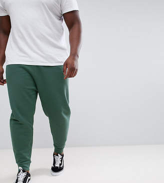 Asos Design Plus Drop Crotch Joggers In Washed Green