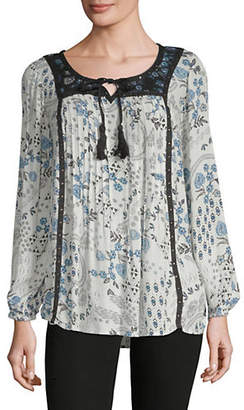 Style&Co. STYLE & CO. Paisley Studded Peasant Blouse