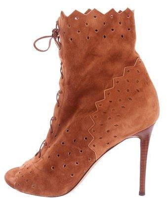 Jimmy ChooJimmy Choo Suede Peep-Toe Boots