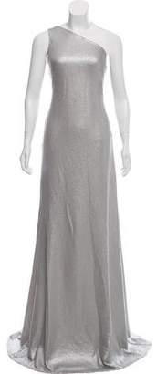 Carmen Marc Valvo Embellished One-Shoulder Maxi Dress