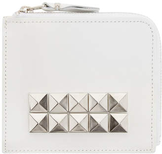 Comme des Garcons Wallets White Leather Studded Wallet