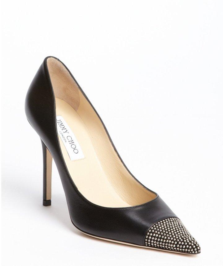 Jimmy Choo black leather 'Amika' studded pointed toe heels