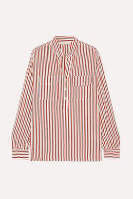 Vanessa Bruno Lauren Striped Silk Crepe De Chine Shirt - Red