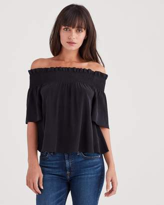 7 For All Mankind Off Shoulder Smock Top in Black
