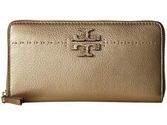 Tory Burch McGraw Metallic Zip Continental Wallet
