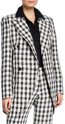 Derek Lam Double-Breasted Gingham Boyfriend Blazer