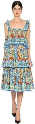 Dolce & Gabbana Ruffled Cotton Poplin Midi Dress