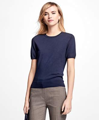 Short-Sleeve Saxxon Wool Shell $128 thestylecure.com