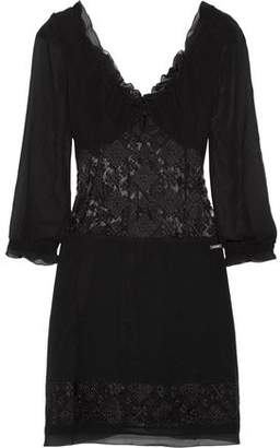 Just Cavalli Paneled Chiffon And Embroidered Tulle Mini Dress