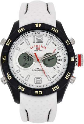 U.S. Polo Assn. USPA Mens White Rubber Strap Watch