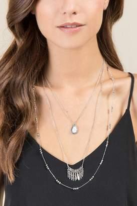 francesca's Fallon Boho Layered Necklace - Silver