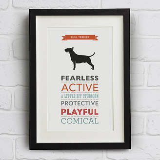 Breed Well Bred Design Bull Terrier Dog Traits Print