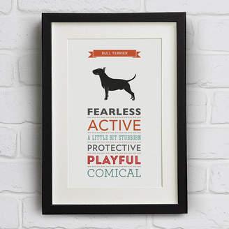 Breed Well Bred Design Bull Terrier Dog Traits Print